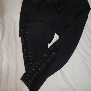 Torrid lace up ankle skinny jeans